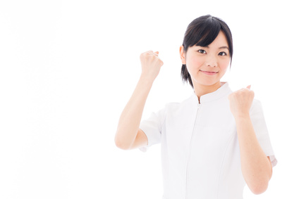 attractive asian nurse supporting on white background