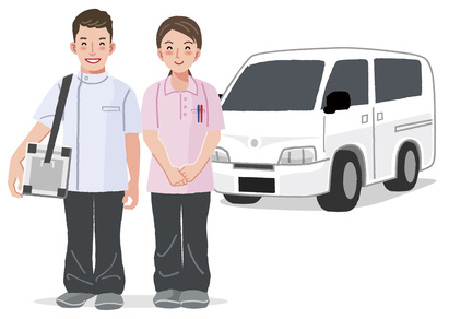 Home Medical Care - doctor and nurse smiling with car in the background.